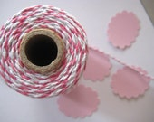 Hot Pink Fuchsia and White Bakers twine 10 metres - Christmas cheer pretty packing for packages and Birthday gifts