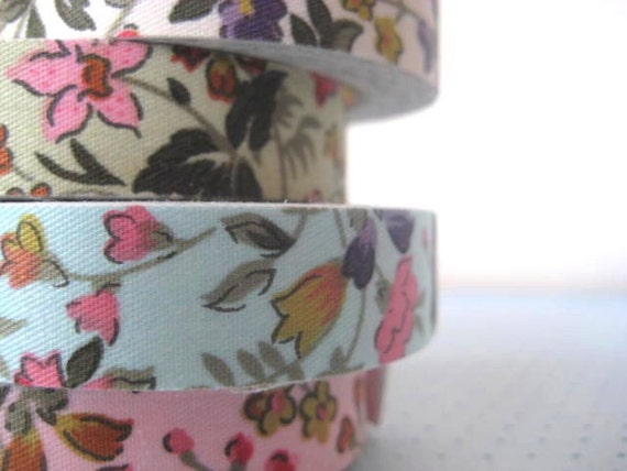 Fabric Tape Sticker Cream Ivory floral flowers -  adorable for craft labels and paper projects