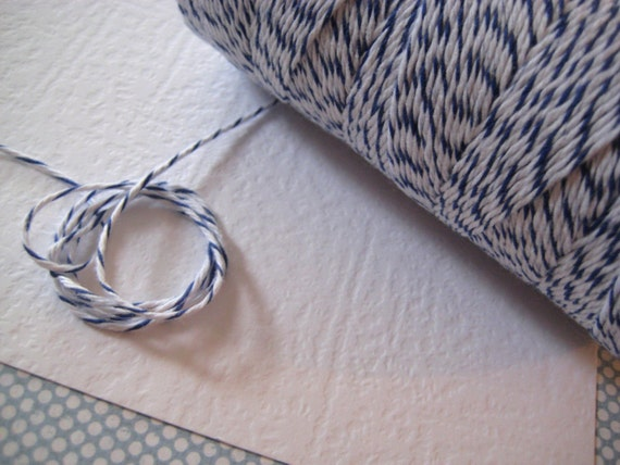 Navy Blue and White Bakers twine Dark Blue 20 metres 22 yards Packing Gift wrap for packages and Birthday gifts