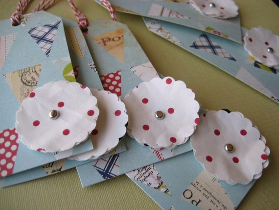 Baby Shower Bunting Print Flower Gift Tags Set of 6 - Blue Red Polka Dot Birthday Recycled paper flowers Pretty