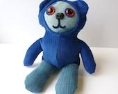 Sitting Denim Bear Wearing Blue Corduroy Hoodie