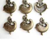 Antique Brass Bird Charm with Flower Connector So TWEET