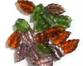 Amber Olive Green Crystal Copper Leaf Glass Beads Autumn Fall Woodland