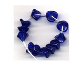Blue Czech 3 Petal Glass Trumpet Bell Flower Beads