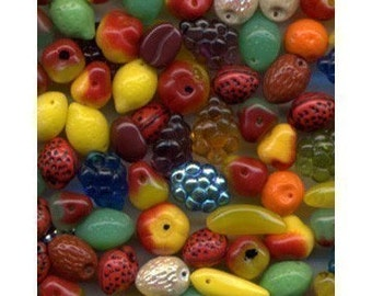 Fruit Beads Carmen Miranda Czech Glass 50 Pcs NICE MIX