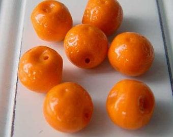 Orange Fruit Beads Czech Pressed Glass Miniature Charm Carmen Miranda