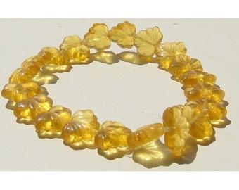Topaz Glass Leaf Bead Czech 14mm Limited Autumn gold