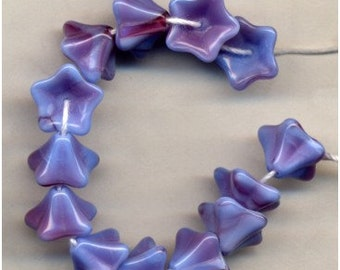 Lilac Raspberry Flower Beads 5 Petal Czech Glass Old Out of Stock Blue Fuchsia