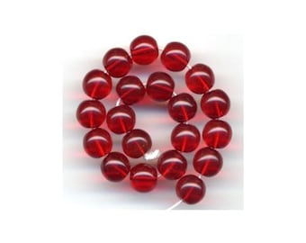 8mm Czech Pressed Glass Round Transparent Christmas Red