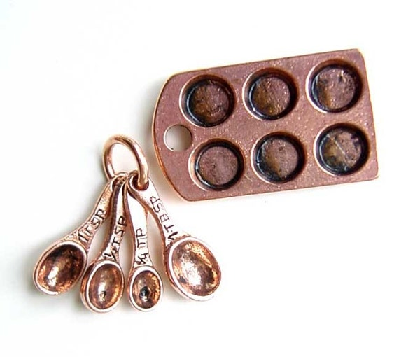 Private Listing Mini Kitchen Baking Charms Muffin Tin Measuring Spoons Antique Copper