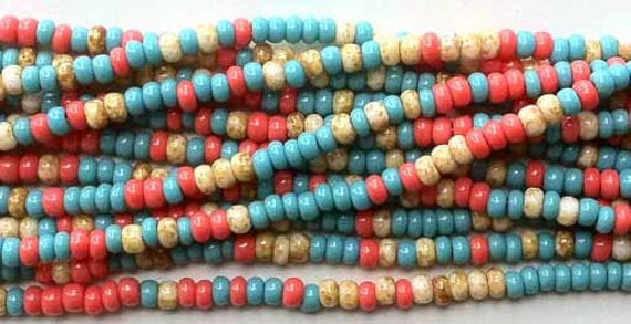 Southwest 8/0 Seed Beads Czech Turquoise Coral Latte Cafe Colors