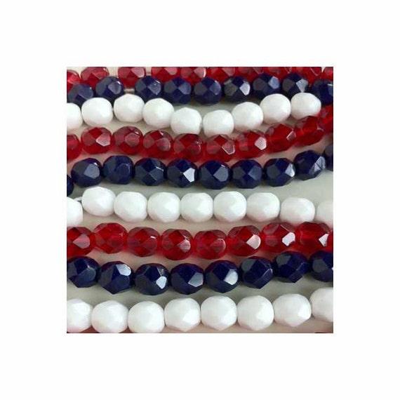 Patriotic Red White Blue Firepolish Crystal Glass Beads Fire Polish