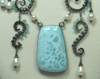 Necklace, Polished Larimar, wrapped in Silver Wire, Apatite, fresh water pearls.
