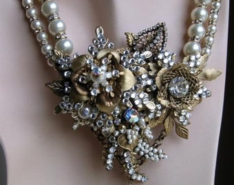 Centerpiece Necklace with Brass Flowers, Leaves, Stampings, Filigrees, Swarovski Rose Montees, Rhondelles, Faux Glass Pearls