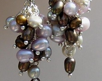 SALE - Earrings of Three Different Colors Fresh Water Pearls - was 53 now 39