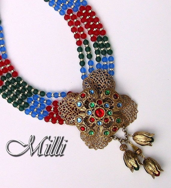 Centerpiece Necklace with colorful Maltese Cross, Swarovski matte glass Beads and Rhinestone Rondelles