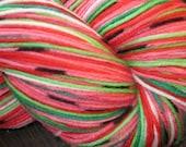 Pre-order Hand dyed self striping watermelon sock yarn - with seeds Superwash wool