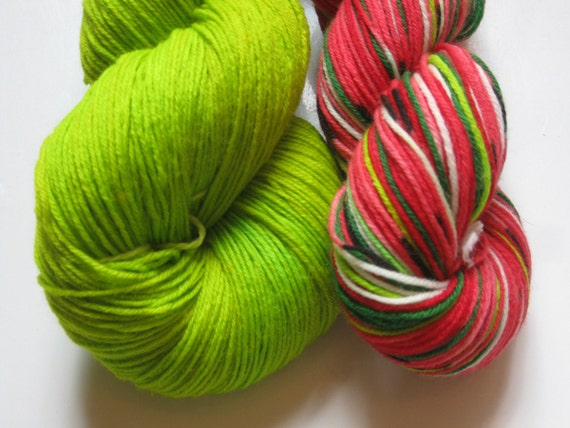 Solid contrast sock  yarn to match self striping watermelon yarn - hand dyed light green mini skein