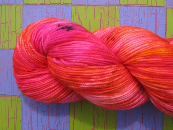 Hand dyed one of a kind sock yarn superwash wool nylon blend Shocking pink orange black