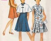 Vintage 1970s Mod  Princess Sheath  Dress n Cape Pattern Jackie o Style