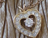 Stunning Vintage CZ Heart Necklace