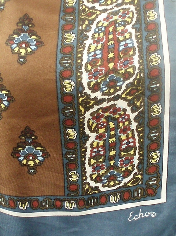 Vintage Echo Designer,  Steel Blue and Chocolate Brown Mod Tribal Paisley Print Scarf