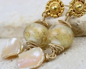 RESERVED - Gold & Pearl Earrings - The Fresia