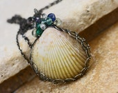 oOo SALE oOo - 45% off - Sea Shell Oxidized Sterling Silver Wire Wrapped Gemstone Necklace - The Dancing Mermaid