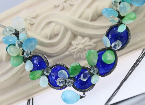 RESERVED - Wire Wrapped Necklace - The Crystalline Waters - Payment 1