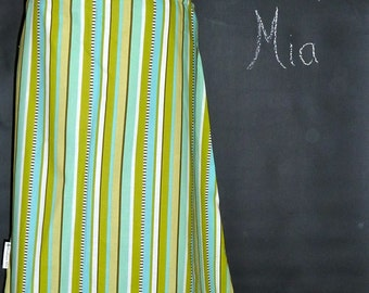Will fit size S/M - Ready To Ship - Ladies Aline Skirt - Aqua Stripes - by Boutique Mia