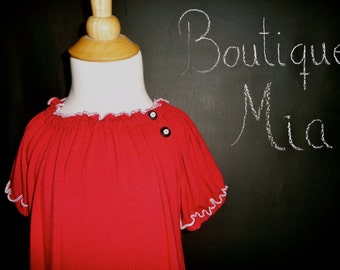 SAMPLE - Jersey Peasant Dress - Will fit Size 4T month to 7 yr - by Boutique Mia and More - Ready To Ship