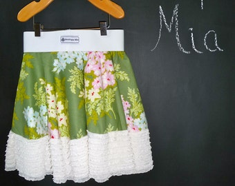 """SAMPLE - Children Circle Skirt w/ Ruffle Hem - 12"""" long - Will fit Size 12-24 month up to 3T - by Boutique Mia and More - Ready To Ship"""