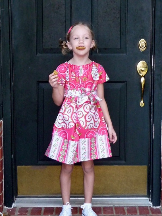 SAMPLE - Aline Dress with Sash - Size 3T / 4T - Ready To Ship - by Boutique Mia and More