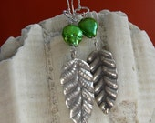 Hilltribe Silver Leaf and Freshwater Pearl Earrings