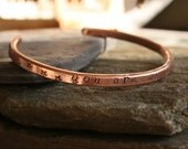 You are my sunshine ... copper hand stamped bangle bracelet ... daughter gift ... made to order ... by simply cindy