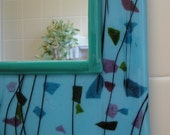 Sale Turquoise Framed Fused Glass Mirror
