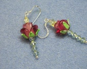 Lampwork and Crystal Rose Earrings (508)