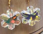 Swarovski Crystal AB Snowflake Gold-filled Earrings (560)