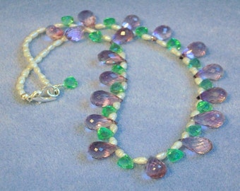 Amethyst, Rock Crystal and Pearl Necklace (783)