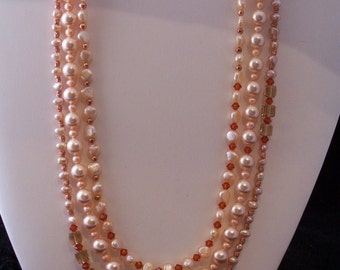 Peach Pearl, Crystal and Copper Necklace (249)