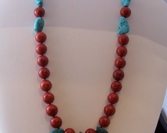 Sponge Coral and Turquoise Necklace (436)
