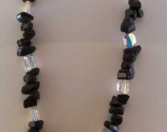 Raw Black Tourmaline and Crystal Necklace (452)