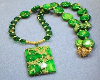 Swarovski Crystal and Impression Jasper Necklace (820)