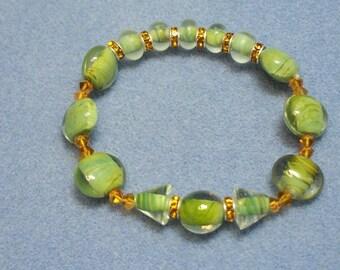 Green Lampwork and Crystal Bracelet (505)