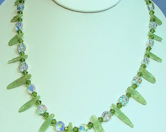 Green Kyanite and Crystal Necklace (554)