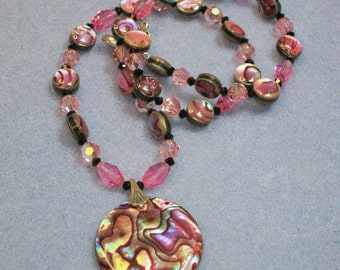 Abalone and Crystal necklace (603)