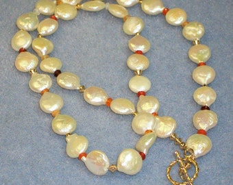 White Pearl and Mexican Fire Opal Necklace (611)