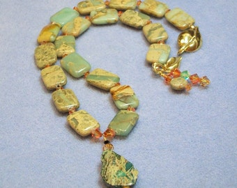 Impression Jasper and Crystal Necklace (651)
