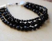 Little black dress jet black glass multi-strand bracelet