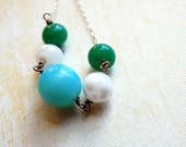 Aqua green white spotted vintage glass necklace. Spring. One of a kind